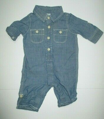 Infant Boys Baby Gap 1969 Blue Chambray Pocket Longall Outfit Size 0-3 Months