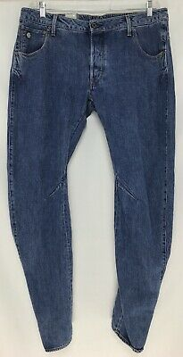 a3a5f3b19 Mens G STAR RAW 36x32 Arc 3D Slim Medium Aged Cotton Button Fly Jeans NWT
