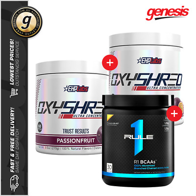 2 x Oxyshred Thermogenic Fat Burner EHP Labs + Rule 1 BCAA!