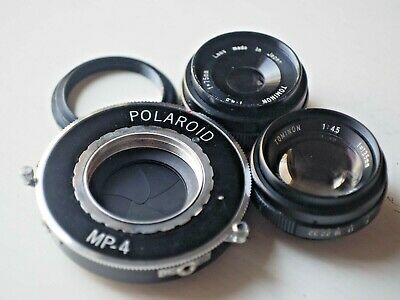 Tominon 135mm f4.5 and 75mm f4.5 lenses, Polaroid MP4 Shutter size No1 (Copal)