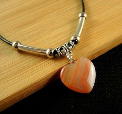 Carnelian Gemstone Heart Necklace Pendant with Silver Tube Beads #1512