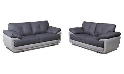 Grey Sofas PU leather, 3+2s Two Tone Grey with Chrome Legs - FREE DELIVERY