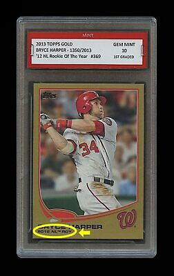 Bryce Harper Topps Rookie Of The Year Card 1st Graded 10 Lot