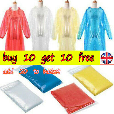 DISPOSABLE Poncho Rain Coat Festival Camping Emergency Waterproof Outdoor Hiking