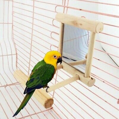 Pet Parrot Bird Toys Mirror with Wooden Frame Animal Cage Hanging Stand Bar AU
