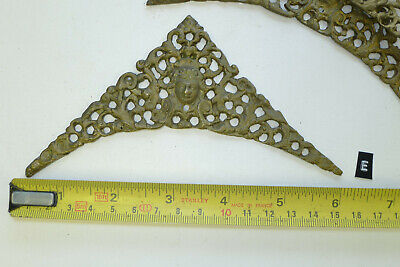 e) SET of FOUR CLOCK SPANDRELS Cast Yellow Brass Lantern/Hooded/Longcase