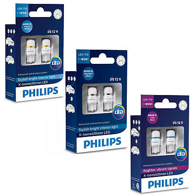 Philips Xtreme Ultinon Vision 360 Led T10 501 W5W Car Bulbs 4000K 6000K 8000K Pl