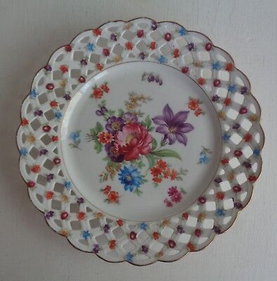 Pretty Schumann Germany Vintage Antique c1928 Plate *Reticulated Edge Floral
