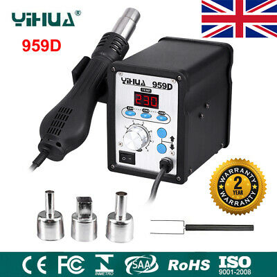 YIHUA 959D SMD Hot Air Gun Soldering Iron Station Digital Rework Welder Tools UK