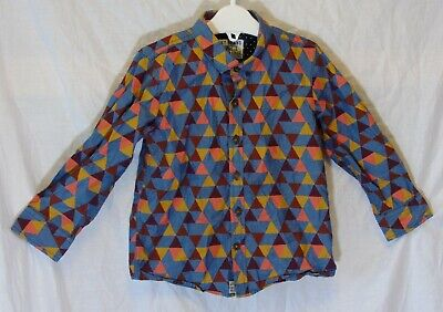 Baby Boys Next Slate Blue Red Orange Triangle Long Sleeve Shirt Age 18-24 Months