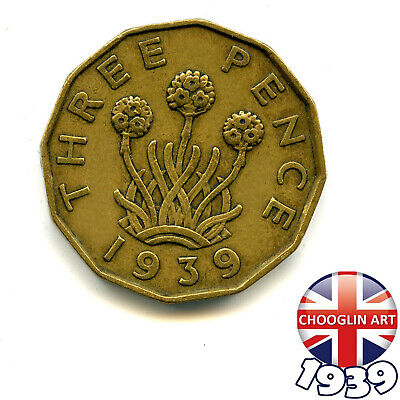 A 1939 British Nickel Brass GEORGE VI THREEPENCE Coin, 80 Years Old!