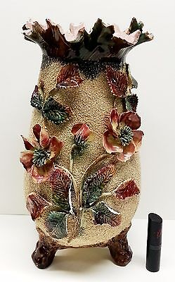 Antique Sand Vase Majolica, Victorian Pink Wild Rose Footed Tall Pottery Vase