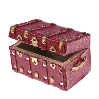 Treasure Chest Vintage Leather Case Box Wooden Miniature Doll House Accessory NJ