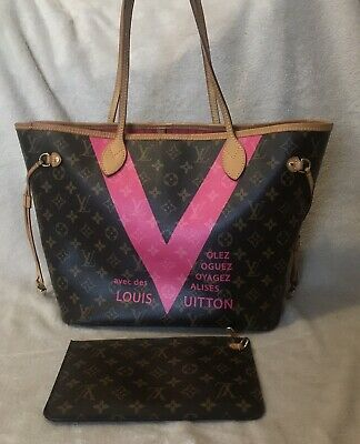 edc3a15184a0 LOUIS VUITTON Limited Edition Grenade Monogram V Neverfull MM Pink Authentic