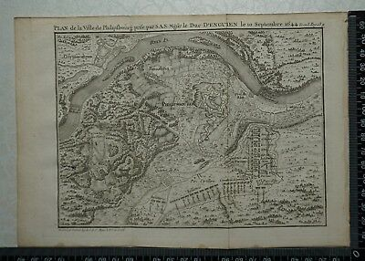 1766 Antique Map of Philipsbourg 1644 - Louis De Bourbon, Prince De Conde.