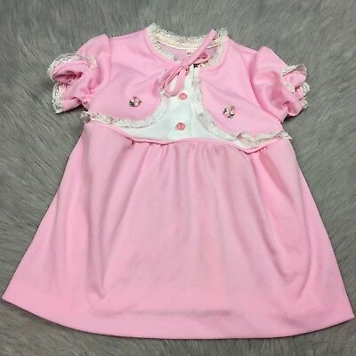 Vintage Sears Toddler Girls Pink White Polyester Lace Floral Dress Easter Spring