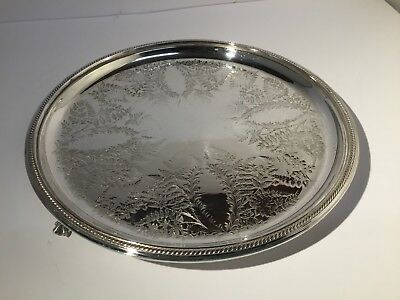Hukin & Heath Silver Plate Footed Salver Ferns Design, 1880, Stunning, 9 3/4""