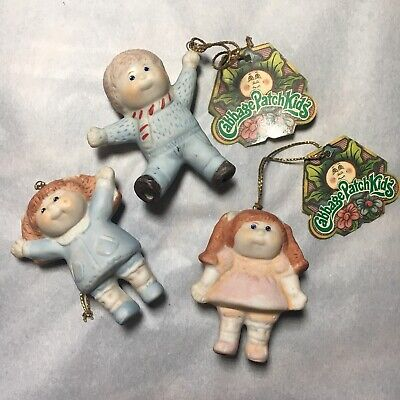 3 Vintage 1984 Cabbage Patch Kid Collectable Porcelain Xmas Ornaments Figurine