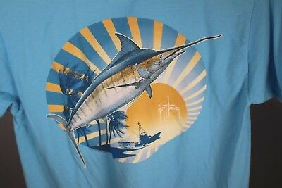 MH68816 GUY HARVEY Sailfish Logo LS Pro UVX White Fisher Shirt Sz 2X-Large//2XL