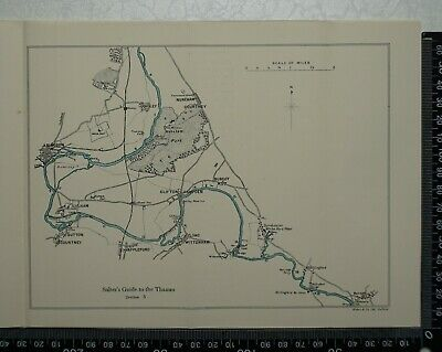 1925 - Vintage Map of River Thames between Abingdon and Benson - Radley, Burcot