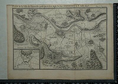 1766 Antique Map of Thionville 1643 - Louis De Bourbon, Prince De Conde.