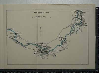 1925 - Vintage Map of River Thames between Purley and Wargrave - Reading