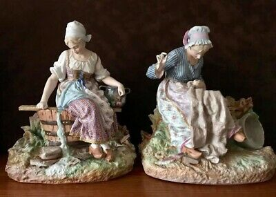 Antique French Limoges Old Haviland Pair Of Bisque Figurines Of MaiVery Rare
