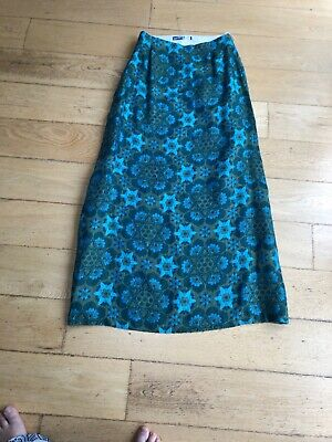Vintage 70s Ridella Maxi Skirt In Turqouise Green And Bronze Wool Weave Size 10