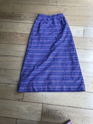 Unbranded Seventies Maxi Skirt In Purple Geometric Pattern Size 8
