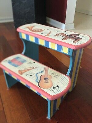 Music Painted Wooden Childs Step Stool two 2 steps
