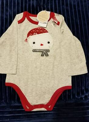 First Impressions Snowman Long sleeve one piece bodysuit Size 6-9 months