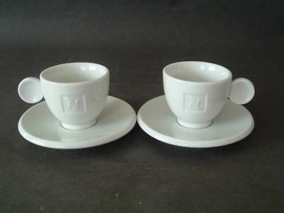 Nescafe - pair of small white espresso cups and saucers