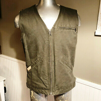 86c8d9c0e62b3 Cabelas Mens Size MED Outdoor Gear Roughneck Canvas Sherpa Lined Green Vest