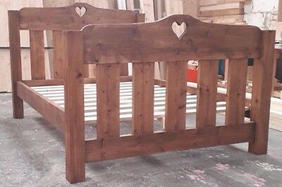 Handmade Rustic Chunky Solid Pine Bed Frame with Dropped Toe Heart Moon Star