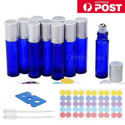 24X 10ML THICK Glass Roller Bottles Steel Big Roll On Ball for Essential Oils OZ