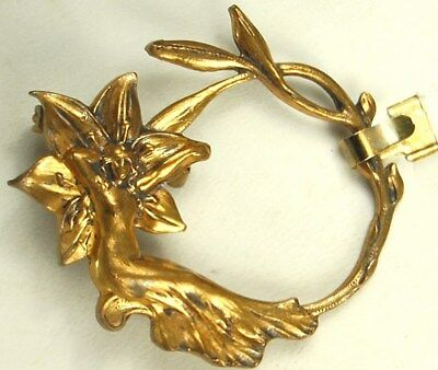 1900s Art Nouveau Pin NYMPH On WATER LILY Fantasy Brooch GOLD over STERLING Fab!