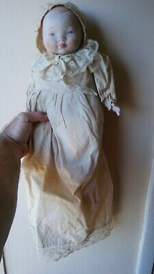 """Antique Victorian German Bisque Head + Hands Baby Doll Hand Made Lace Dress 14"""""""