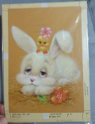 Original Greeting Card Artwork Painting Cute Bunny Rabbit + Chick Easter Signed