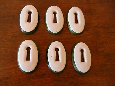 VINTAGE LOT of 6 PORCELAIN OVAL KEY HOLE ESCUTCHEONS WHITE w/GREEN TRIM NICE!