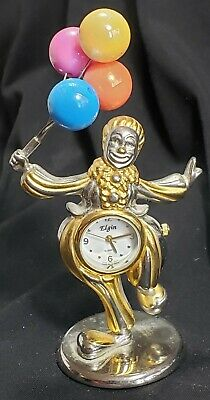 Collectable ELGIN CIRCUS CLOWN WITH BALLOONS MINIATURE 4 in High DESK QTZ CLOCK