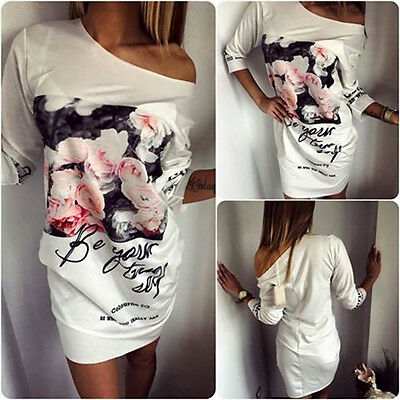 Womens Floral Print T-Shirt Dress Off Shoulder Casual Summer Short Mini Dresses