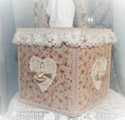 Country Calico Chic Square TISSUE BOX COVER with Ecru Crochet Heart & Lace
