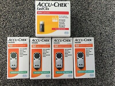 Accu-Chek Mobile Cassette 4 Boxes of 50 Tests 200 Tests 204 fastclix lancets