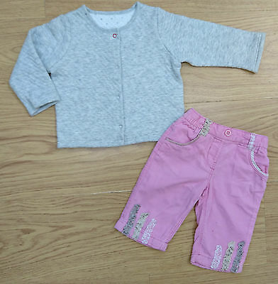Next M&S Baby Girls Outfit Bundle Age 3-6 Months Grey Jacket Corduroy Jeans
