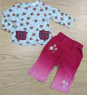 Zara Baby Girls Outfit Bundle Age 3-6 Months Grey Pink Floral Top Trouser
