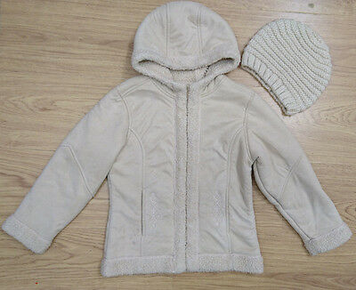 ADAMS girls suede jacket coat hat age 5-6 years fur lined bundle