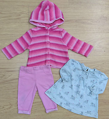 Next Baby Girls Outfit Bundle Age 3-6 Months Rabbit Top Cardigan Jeggings