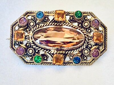 Small Authentic Vintage Art Deco CZECH Faceted Glass & Rhinestone Pin