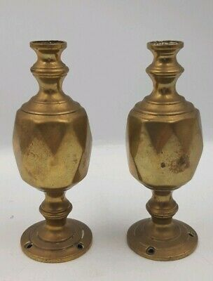 Antique Victorian Reclaimed Pair Of Brass Finials Bedknobs