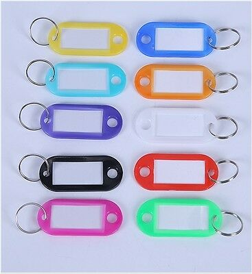 UK SELLER Key Ring Tags - 10 Colours - Choose from 4, 12, 20, 50, 100, 200 tags